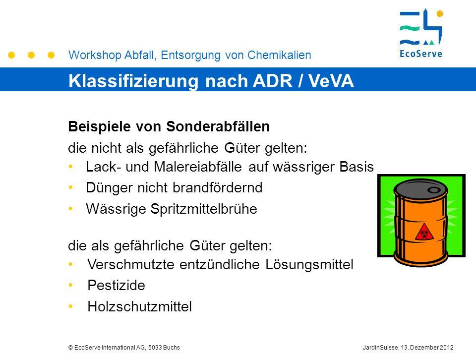 Workshop Abfall, Entsorgung von Chemikalien © EcoServe International AG, 5033 BuchsJardinSuisse, 13. Dezember 2012 Beispiele von Sonderabfällen die ni