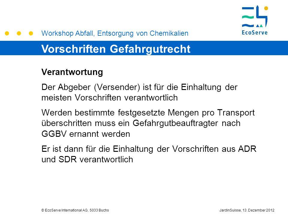 Workshop Abfall, Entsorgung von Chemikalien © EcoServe International AG, 5033 BuchsJardinSuisse, 13. Dezember 2012 Verantwortung Der Abgeber (Versende