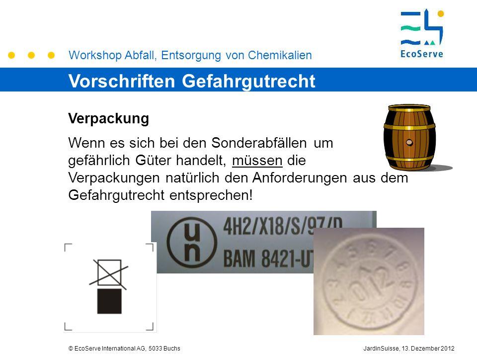 Workshop Abfall, Entsorgung von Chemikalien © EcoServe International AG, 5033 BuchsJardinSuisse, 13. Dezember 2012 Verpackung Wenn es sich bei den Son