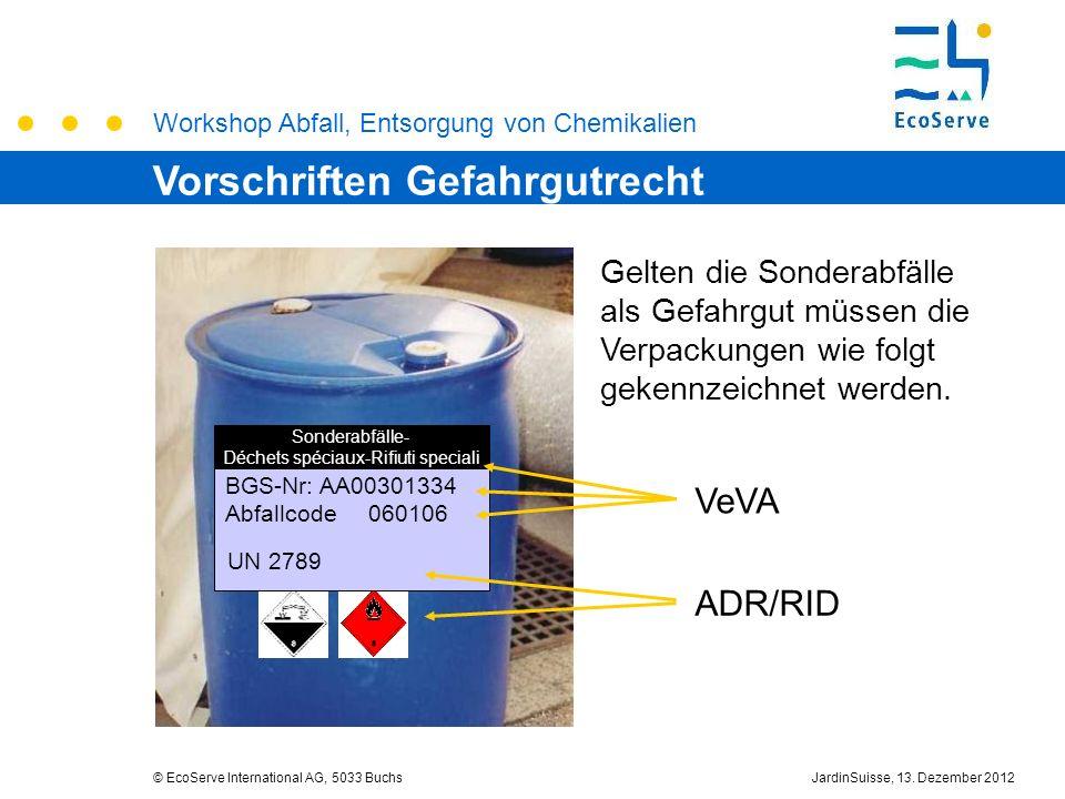 Workshop Abfall, Entsorgung von Chemikalien © EcoServe International AG, 5033 BuchsJardinSuisse, 13. Dezember 2012 VeVA ADR/RID BGS-Nr: AA00301334 Abf