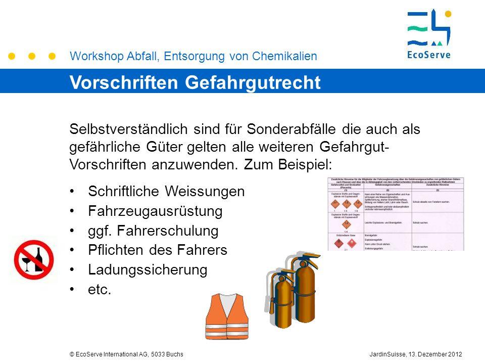 Workshop Abfall, Entsorgung von Chemikalien © EcoServe International AG, 5033 BuchsJardinSuisse, 13. Dezember 2012 Selbstverständlich sind für Sondera