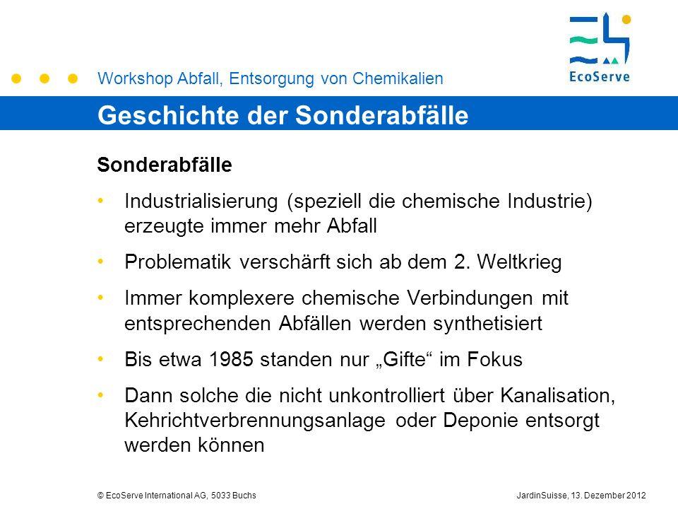 Workshop Abfall, Entsorgung von Chemikalien © EcoServe International AG, 5033 BuchsJardinSuisse, 13. Dezember 2012 Sonderabfälle Industrialisierung (s