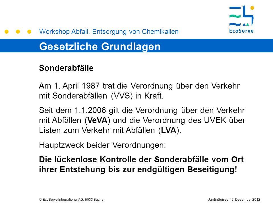Workshop Abfall, Entsorgung von Chemikalien © EcoServe International AG, 5033 BuchsJardinSuisse, 13. Dezember 2012 Sonderabfälle Am 1. April 1987 trat