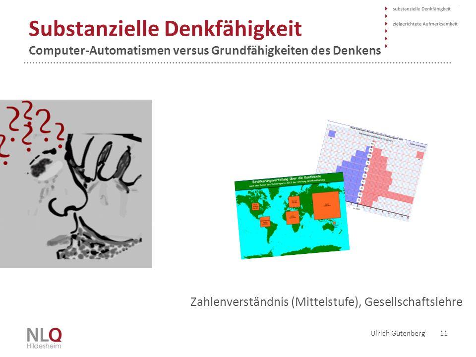 Substanzielle Denkfähigkeit Computer-Automatismen versus Grundfähigkeiten des Denkens Ulrich Gutenberg 11 Was bewältigt der Rezipient noch selber mit seinem Geist.
