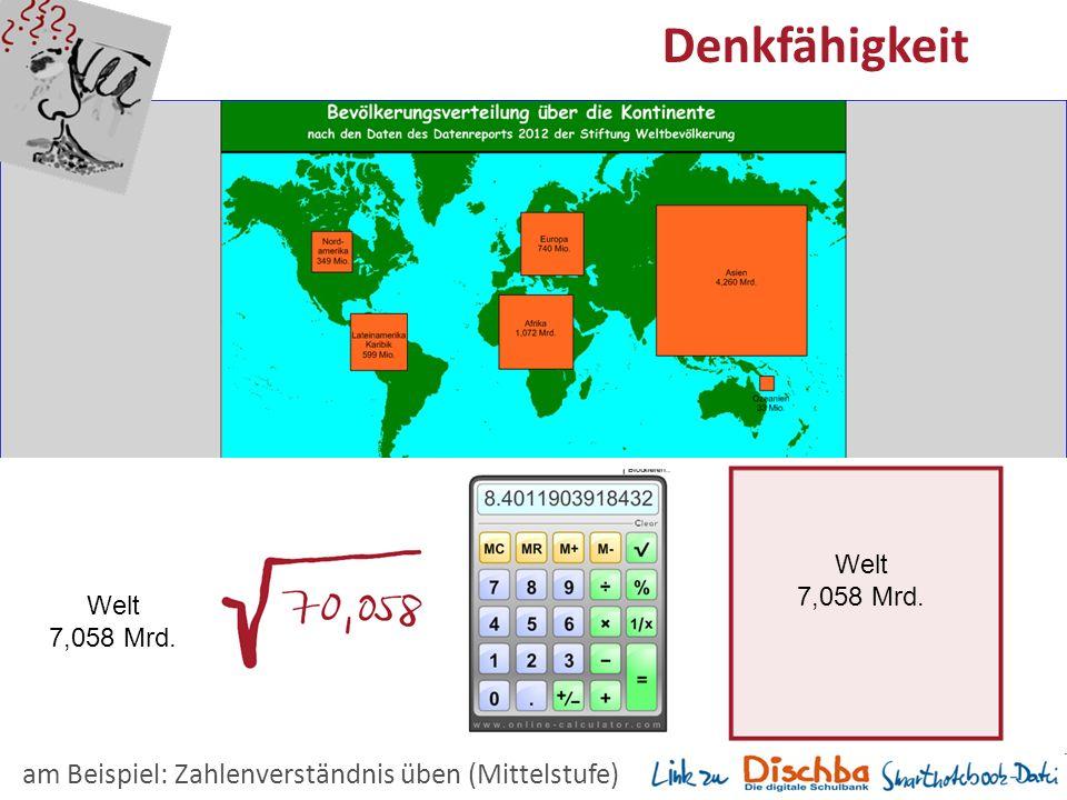 15 Denkfähigkeit Welt 7,058 Mrd. am Beispiel: Zahlenverständnis üben (Mittelstufe) Welt 7,058 Mrd.