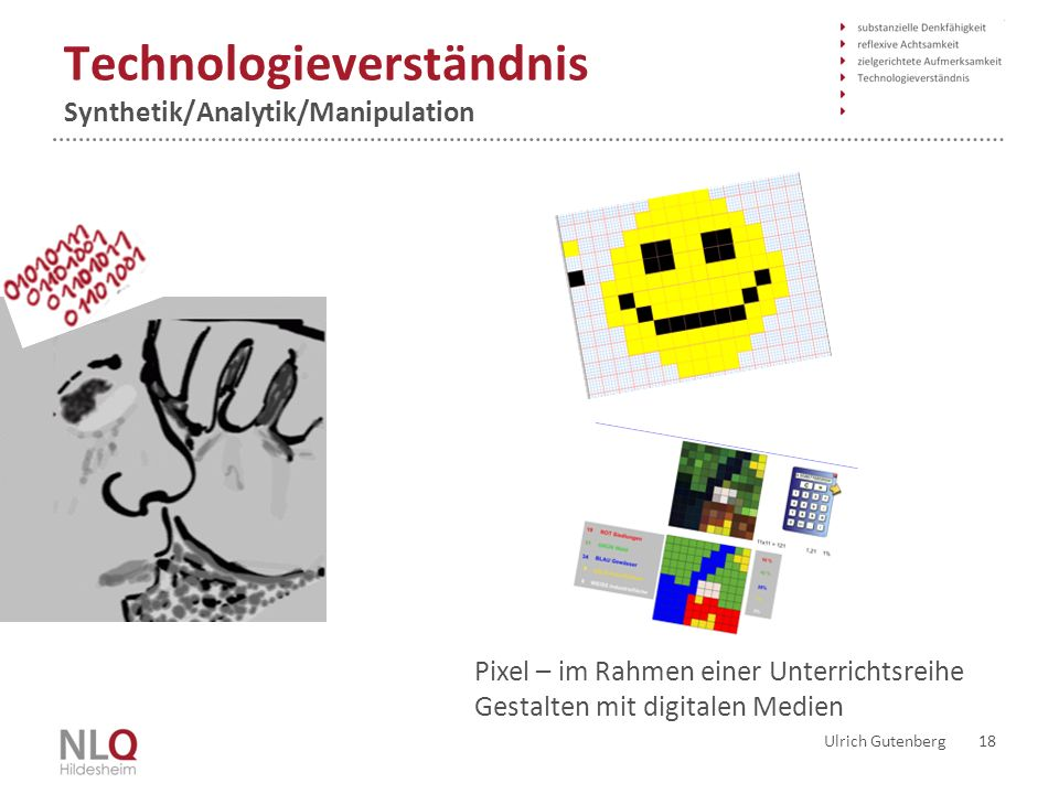 Technologieverständnis Synthetik/Analytik/Manipulation Ulrich Gutenberg 18 Pixel – im Rahmen einer Unterrichtsreihe Gestalten mit digitalen Medien