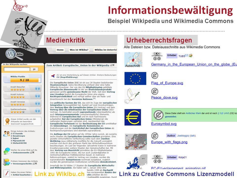 23 Informationsbewältigung UrheberrechtsfragenMedienkritik Link zu Wikibu.ch Beispiel Wikipedia und Wikimedia Commons Link zu Creative Commons Lizenzmodell