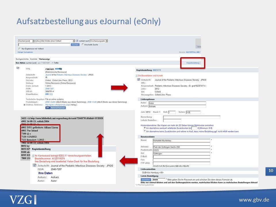 Nur eOnly-Zeitschriften bestellbar, alle anderen eJournals bleiben zunächst für die Fernleihe gesperrt Bei Bestellaufgabe Holdinganalyse und Leitwegge
