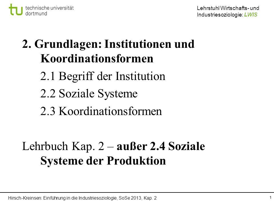 Hirsch-Kreinsen: Einführung in die Industriesoziologie, SoSe 2013, Kap. 2 Lehrstuhl Wirtschafts- und Industriesoziologie: LWIS 1 2. Grundlagen: Instit