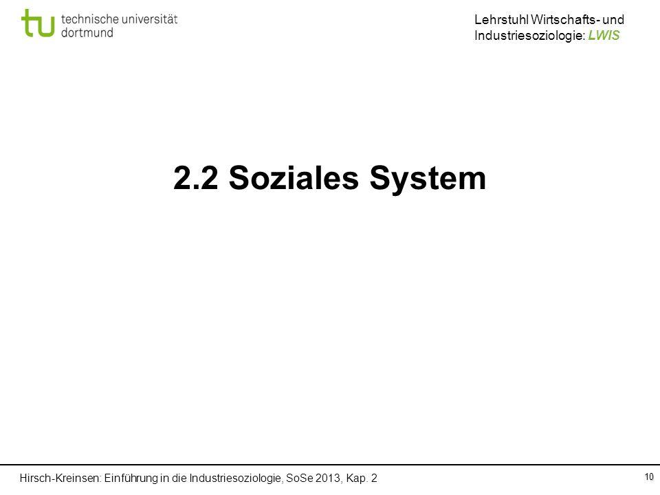 Hirsch-Kreinsen: Einführung in die Industriesoziologie, SoSe 2013, Kap. 2 Lehrstuhl Wirtschafts- und Industriesoziologie: LWIS 10 2.2 Soziales System