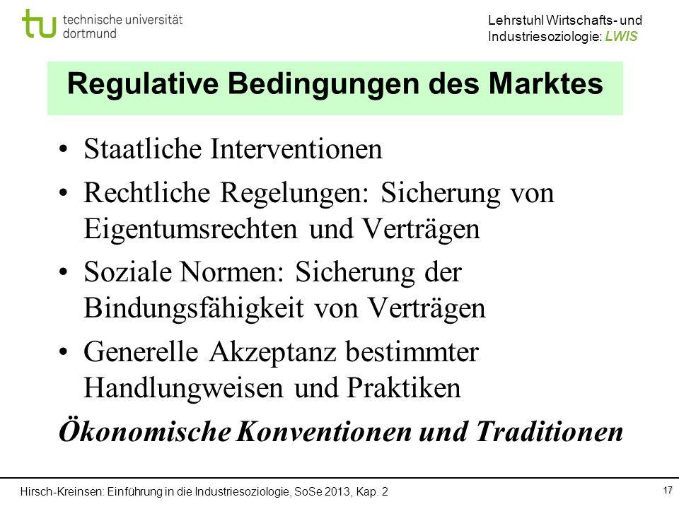 Hirsch-Kreinsen: Einführung in die Industriesoziologie, SoSe 2013, Kap. 2 Lehrstuhl Wirtschafts- und Industriesoziologie: LWIS 17 Regulative Bedingung