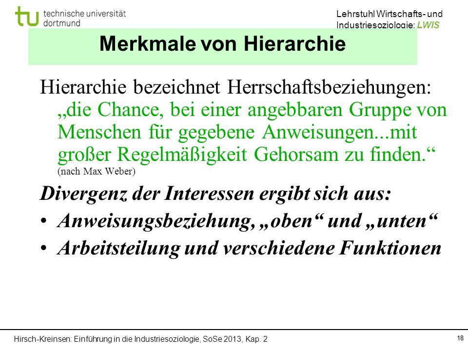Hirsch-Kreinsen: Einführung in die Industriesoziologie, SoSe 2013, Kap. 2 Lehrstuhl Wirtschafts- und Industriesoziologie: LWIS Merkmale von Hierarchie