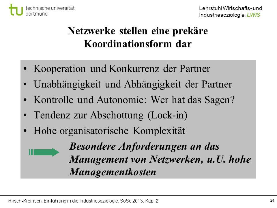 Hirsch-Kreinsen: Einführung in die Industriesoziologie, SoSe 2013, Kap. 2 Lehrstuhl Wirtschafts- und Industriesoziologie: LWIS 24 Netzwerke stellen ei