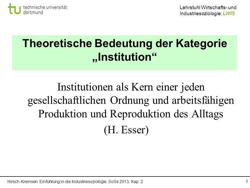 Hirsch-Kreinsen: Einführung in die Industriesoziologie, SoSe 2013, Kap. 2 Lehrstuhl Wirtschafts- und Industriesoziologie: LWIS 3 Theoretische Bedeutun