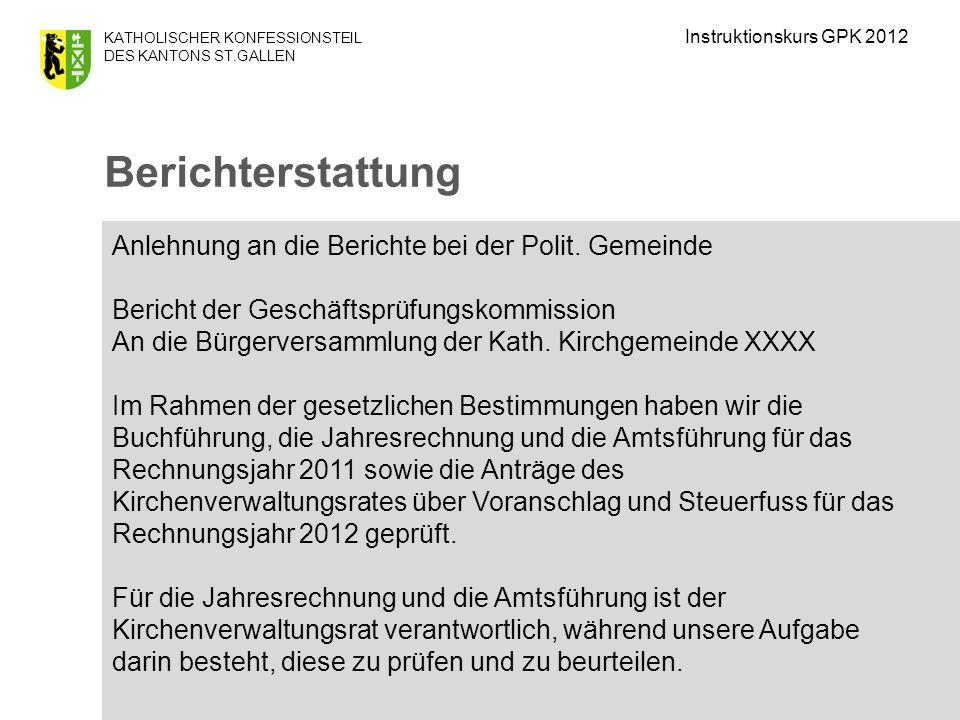 KATHOLISCHER KONFESSIONSTEIL DES KANTONS ST.GALLEN Anlehnung an die Berichte bei der Polit.