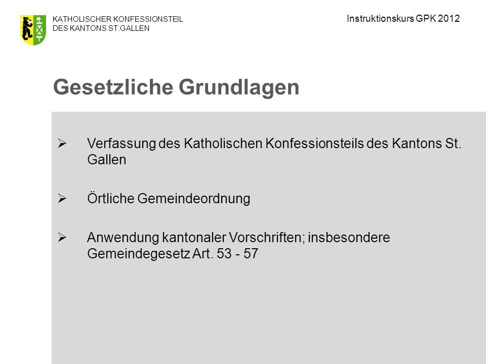 KATHOLISCHER KONFESSIONSTEIL DES KANTONS ST.GALLEN Wichtigste Dekrete (erlassen durch das Kath.