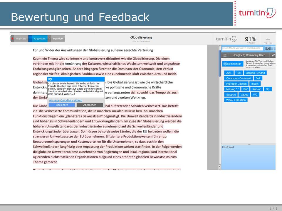 [ 30 ] Bewertung und Feedback