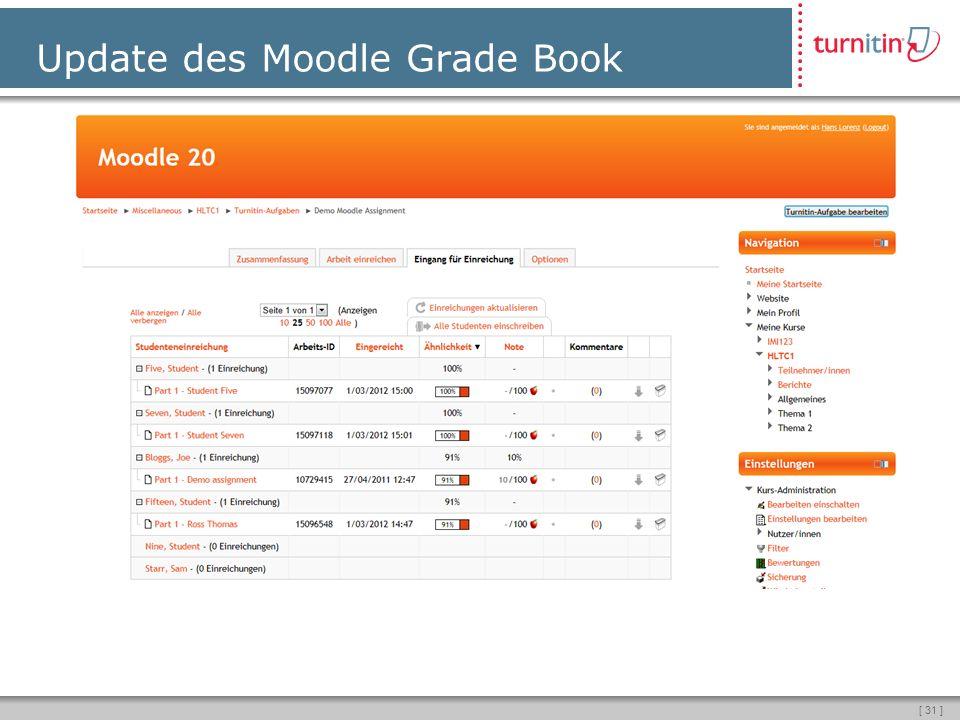 [ 31 ] Update des Moodle Grade Book