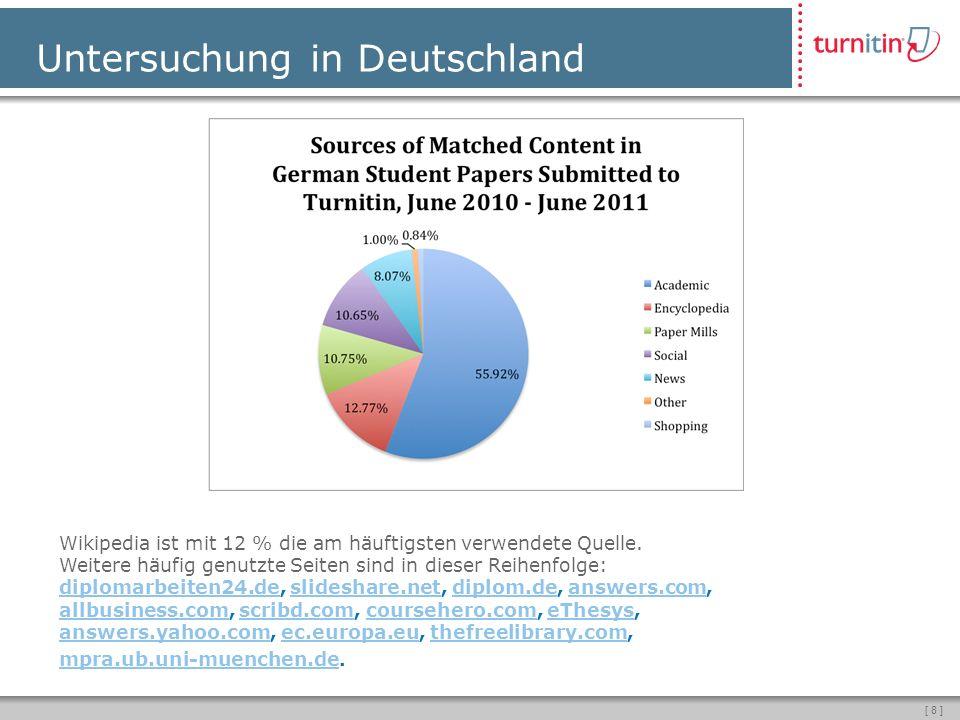 [ 8 ] Untersuchung in Deutschland Wikipedia ist mit 12 % die am häuftigsten verwendete Quelle.