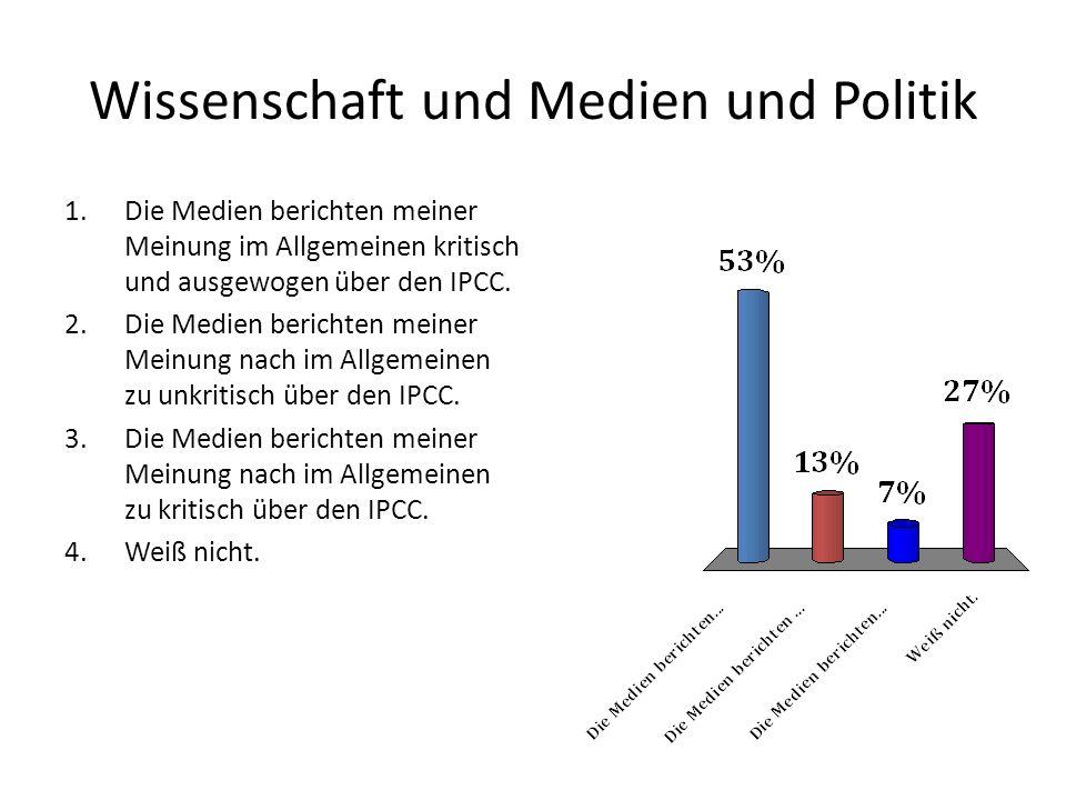 Wissenschaft und Medien und Politik 1.Die Medien berichten meiner Meinung im Allgemeinen kritisch und ausgewogen über den IPCC. 2.Die Medien berichten