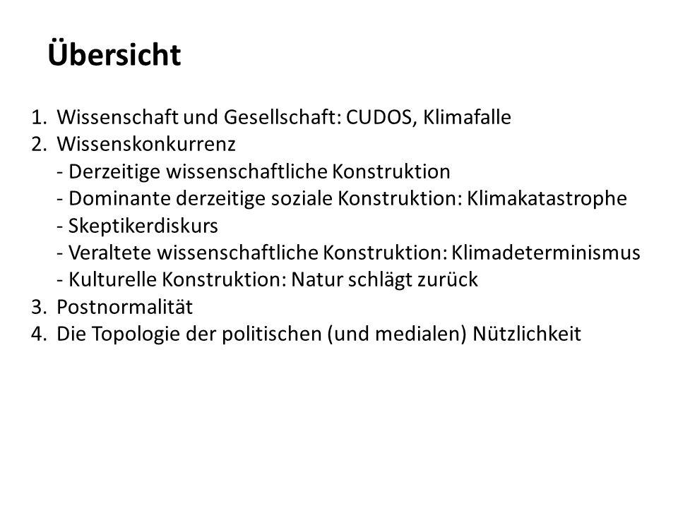 Übersicht 1.Wissenschaft und Gesellschaft: CUDOS, Klimafalle 2.Wissenskonkurrenz - Derzeitige wissenschaftliche Konstruktion - Dominante derzeitige so