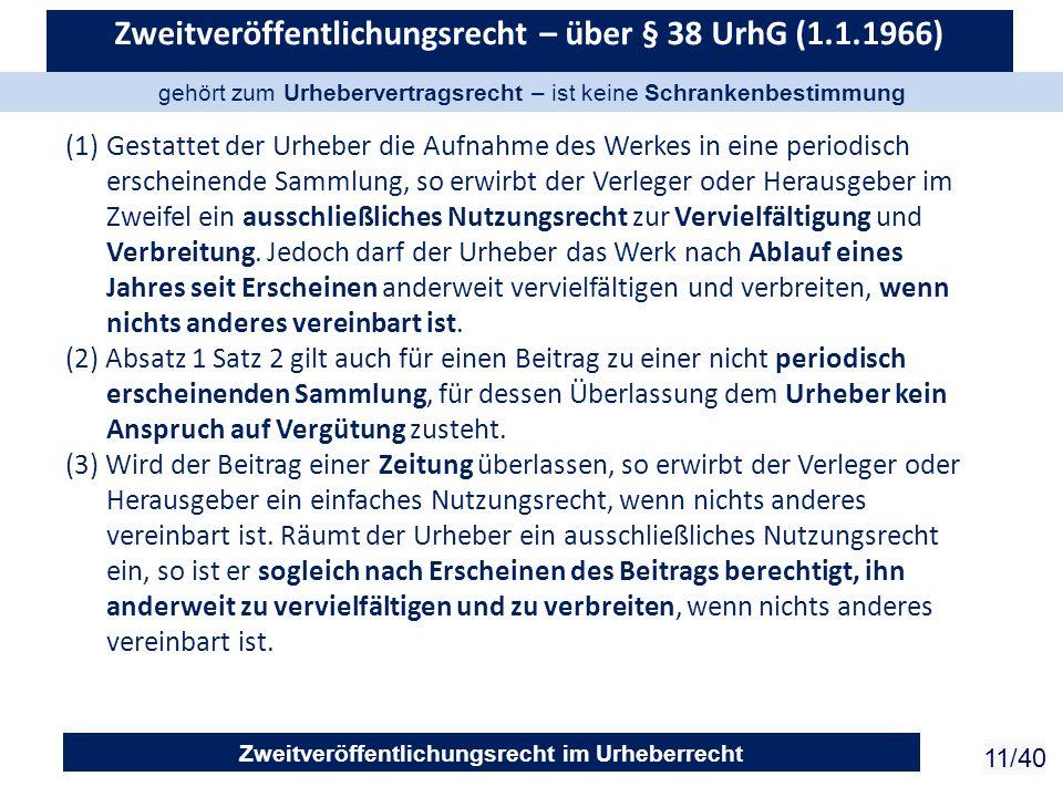 Zweitveröffentlichungsrecht im Urheberrecht 11/40 Zweitveröffentlichungsrecht – über § 38 UrhG (1.1.1966) (1)Gestattet der Urheber die Aufnahme des We