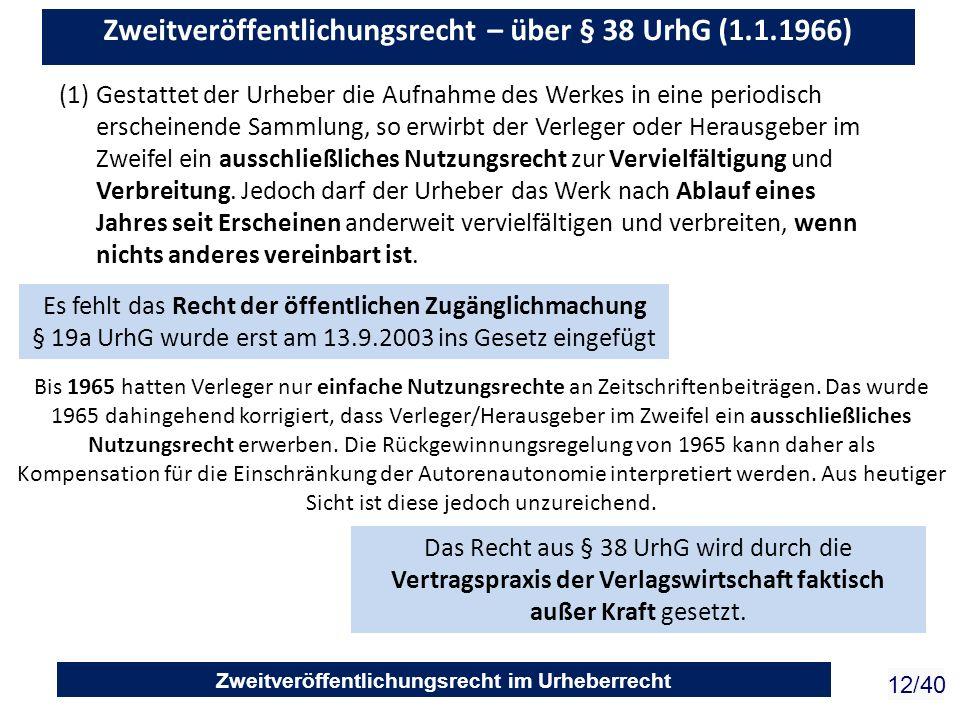 Zweitveröffentlichungsrecht im Urheberrecht 12/40 (1)Gestattet der Urheber die Aufnahme des Werkes in eine periodisch erscheinende Sammlung, so erwirb