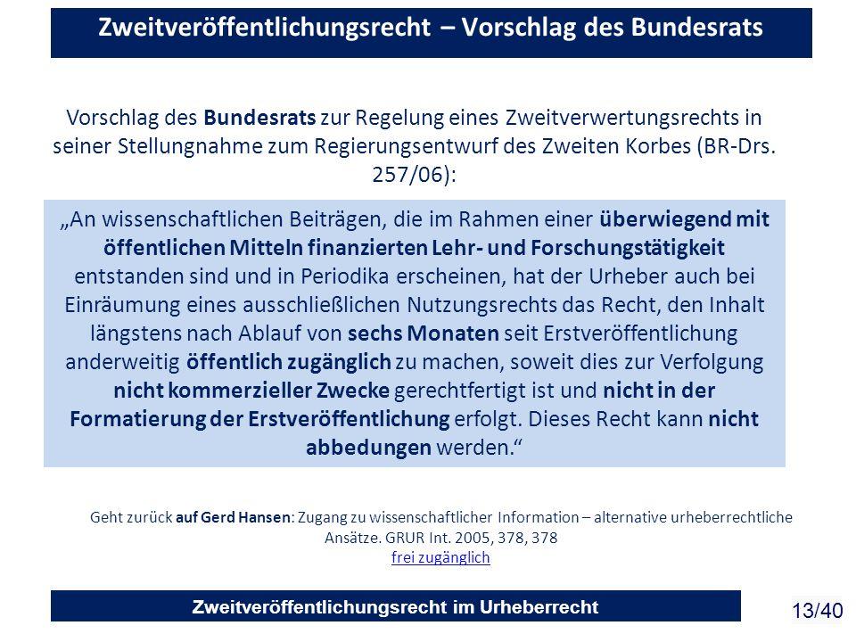 Zweitveröffentlichungsrecht im Urheberrecht 13/40 Zweitveröffentlichungsrecht – Vorschlag des Bundesrats Vorschlag des Bundesrats zur Regelung eines Z