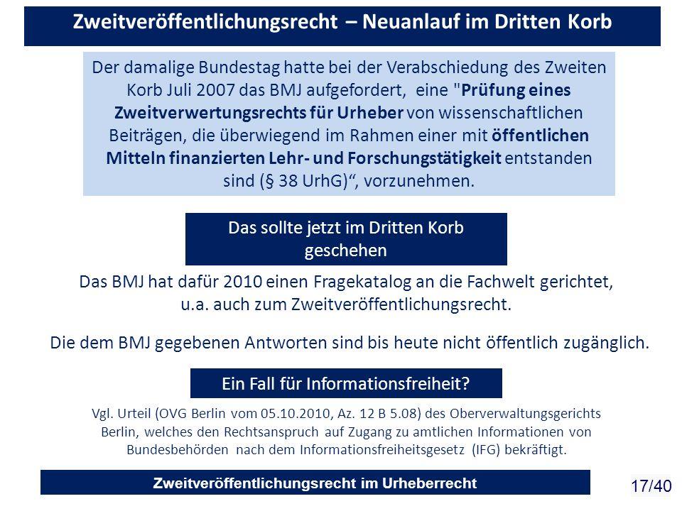 Zweitveröffentlichungsrecht im Urheberrecht 17/40 Zweitveröffentlichungsrecht – Neuanlauf im Dritten Korb Der damalige Bundestag hatte bei der Verabsc