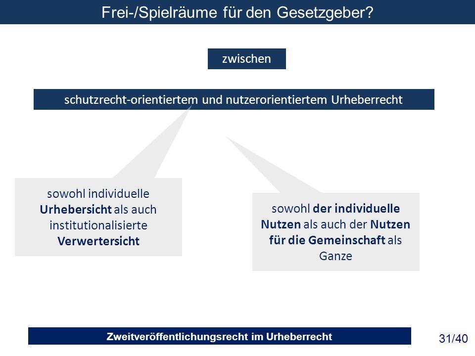 Zweitveröffentlichungsrecht im Urheberrecht 31/40 schutzrecht-orientiertem und nutzerorientiertem Urheberrecht zwischen sowohl individuelle Urhebersic