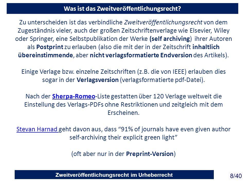 Zweitveröffentlichungsrecht im Urheberrecht 8/40 Zu unterscheiden ist das verbindliche Zweitveröffentlichungsrecht von dem Zugeständnis vieler, auch d