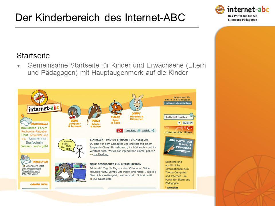 Startseite Gemeinsame Startseite für Kinder und Erwachsene (Eltern und Pädagogen) mit Hauptaugenmerk auf die Kinder
