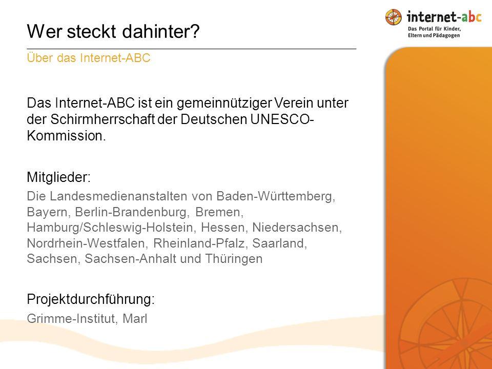 Das Internet-ABC ist ein gemeinnütziger Verein unter der Schirmherrschaft der Deutschen UNESCO- Kommission.
