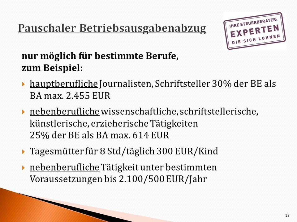 nur möglich für bestimmte Berufe, zum Beispiel: hauptberufliche Journalisten, Schriftsteller 30% der BE als BA max. 2.455 EUR nebenberufliche wissensc