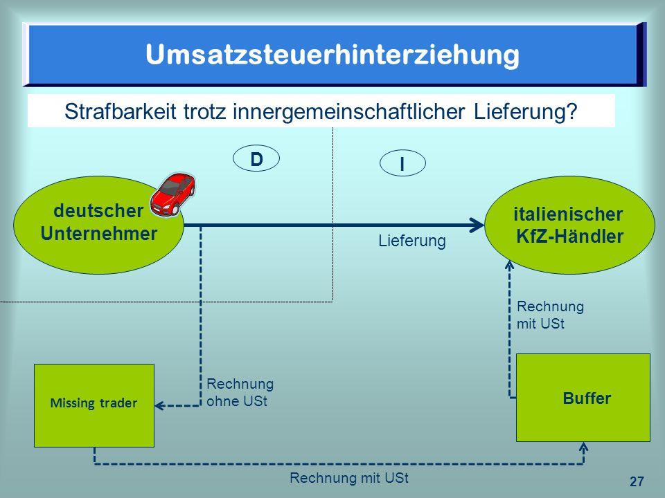 27 Umsatzsteuerhinterziehung deutscher Unternehmer Missing trader Buffer italienischer KfZ-Händler I D Strafbarkeit trotz innergemeinschaftlicher Lief