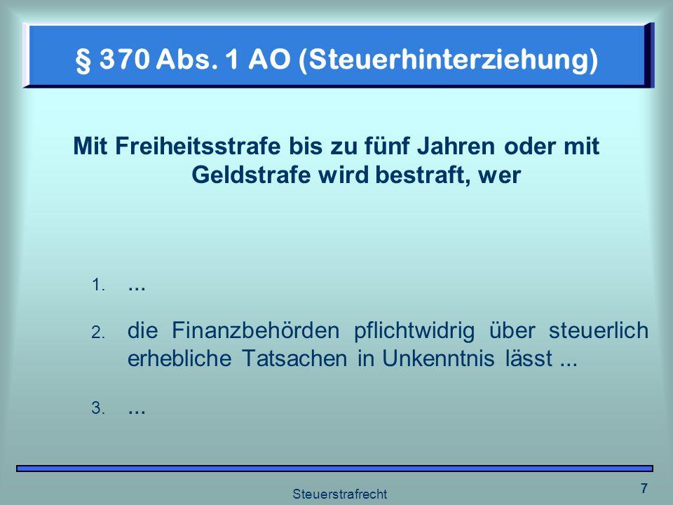 Steuerstrafrecht 7 § 370 Abs. 1 AO (Steuerhinterziehung) Mit Freiheitsstrafe bis zu fünf Jahren oder mit Geldstrafe wird bestraft, wer 1.... 2. die Fi