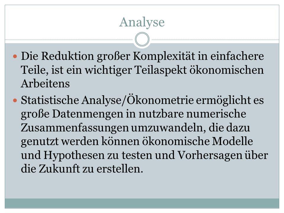 Analyse Die Reduktion großer Komplexität in einfachere Teile, ist ein wichtiger Teilaspekt ökonomischen Arbeitens Statistische Analyse/Ökonometrie erm