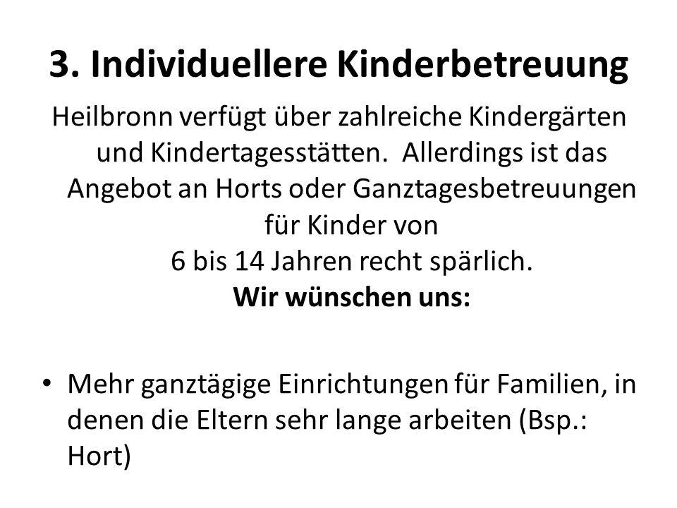 3. Individuellere Kinderbetreuung Heilbronn verfügt über zahlreiche Kindergärten und Kindertagesstätten. Allerdings ist das Angebot an Horts oder Ganz