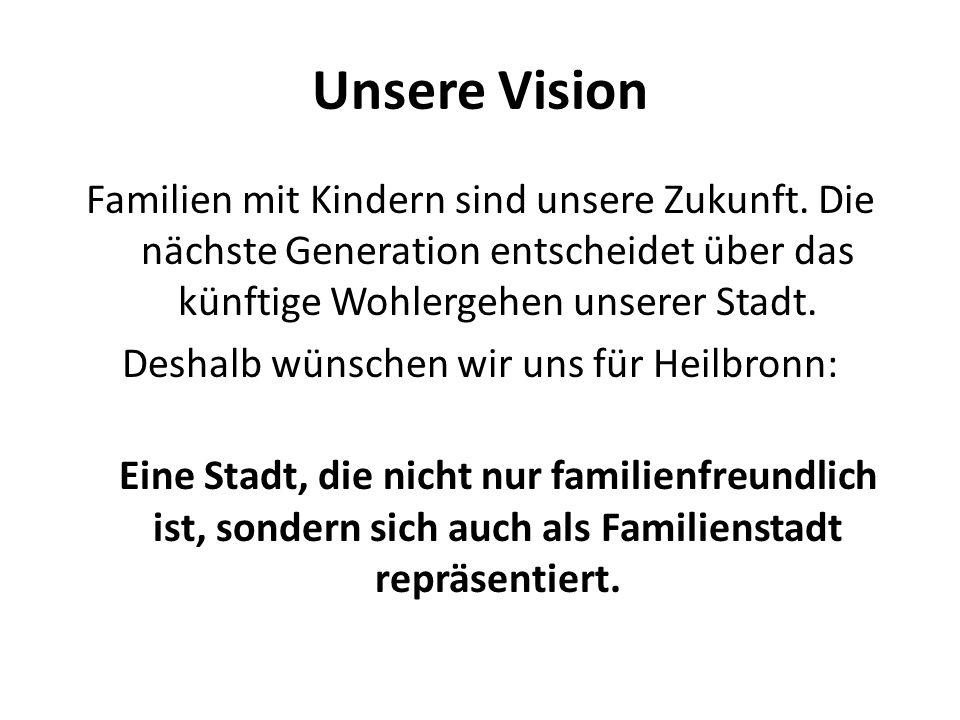 Unsere Vision Familien mit Kindern sind unsere Zukunft. Die nächste Generation entscheidet über das künftige Wohlergehen unserer Stadt. Deshalb wünsch