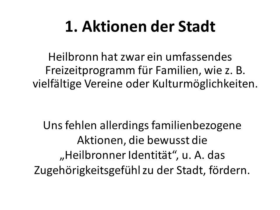 1. Aktionen der Stadt Heilbronn hat zwar ein umfassendes Freizeitprogramm für Familien, wie z. B. vielfältige Vereine oder Kulturmöglichkeiten. Uns fe