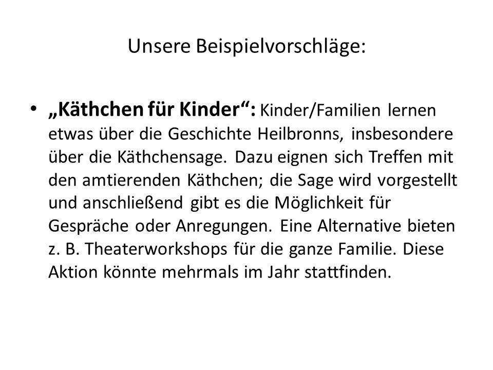 Unsere Beispielvorschläge: Käthchen für Kinder: Kinder/Familien lernen etwas über die Geschichte Heilbronns, insbesondere über die Käthchensage. Dazu