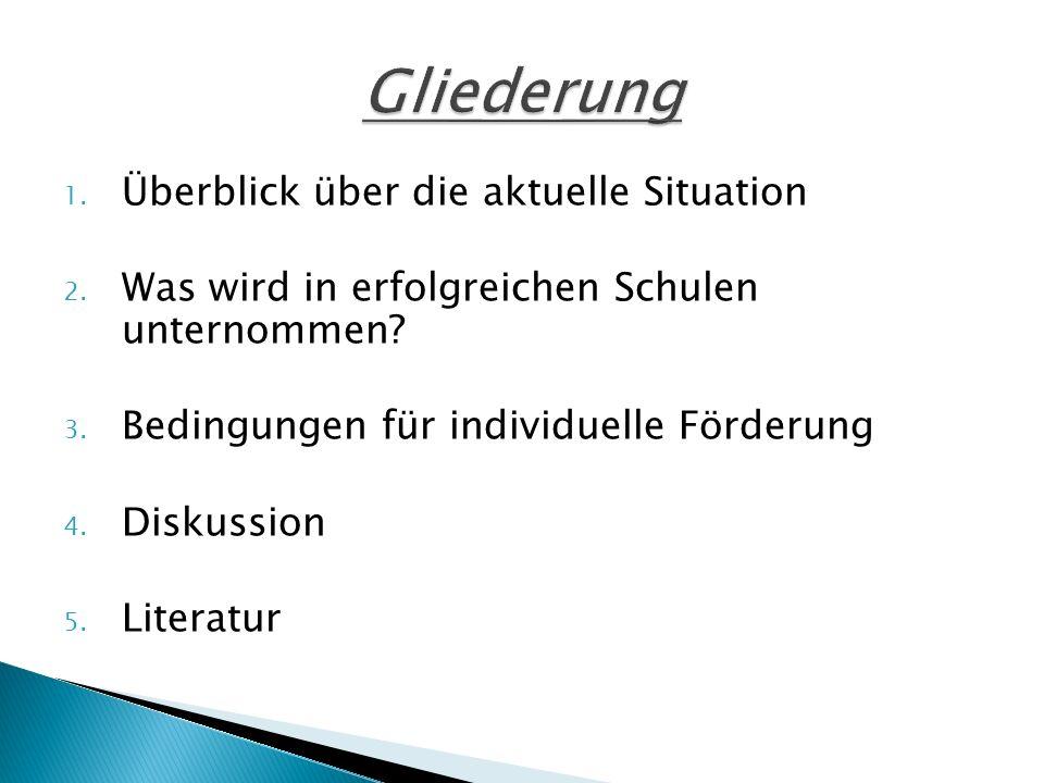 1. Überblick über die aktuelle Situation 2. Was wird in erfolgreichen Schulen unternommen? 3. Bedingungen für individuelle Förderung 4. Diskussion 5.