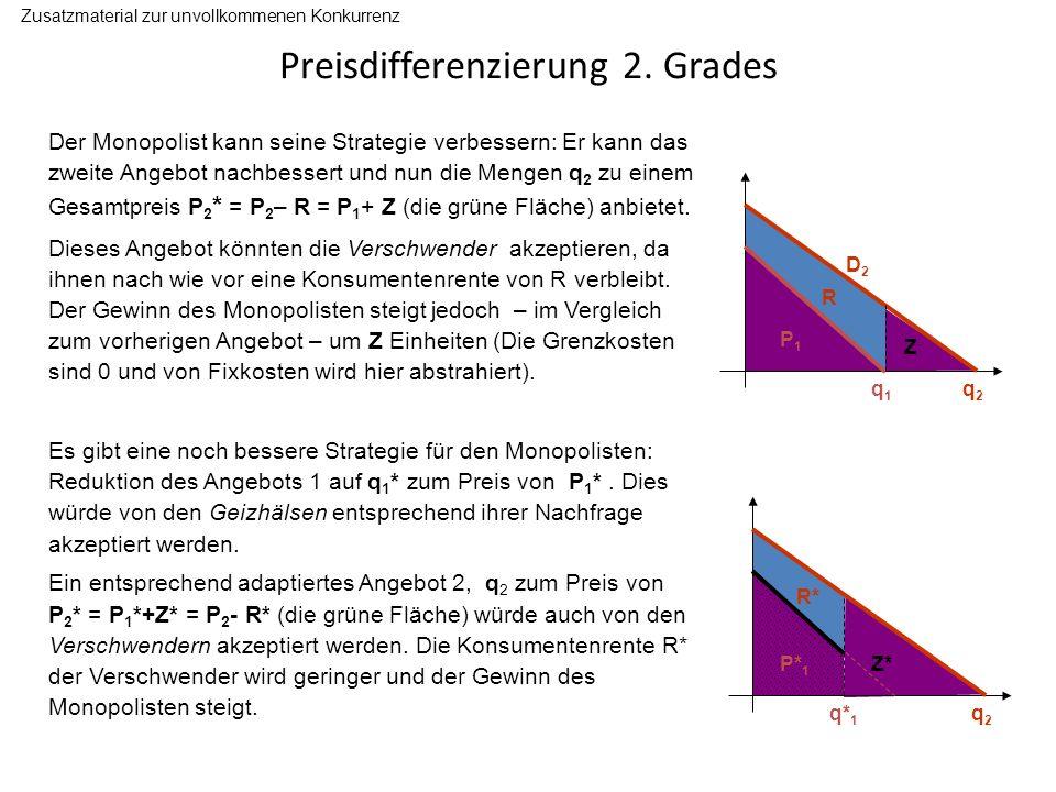 Preisdifferenzierung 2. Grades Zusatzmaterial zur unvollkommenen Konkurrenz Der Monopolist kann seine Strategie verbessern: Er kann das zweite Angebot