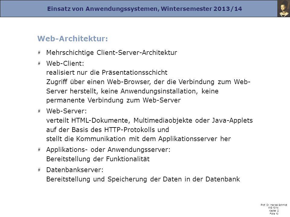 Einsatz von Anwendungssystemen, Wintersemester 2013/14 Prof. Dr. Herrad Schmidt WS 13/14 Kapitel 2 Folie 10 Web-Architektur: Mehrschichtige Client-Ser