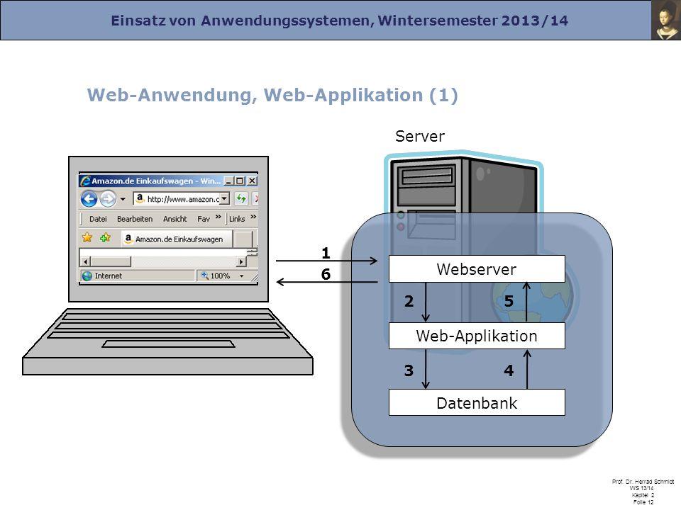 Einsatz von Anwendungssystemen, Wintersemester 2013/14 Prof. Dr. Herrad Schmidt WS 13/14 Kapitel 2 Folie 12 Web-Anwendung, Web-Applikation (1) Server