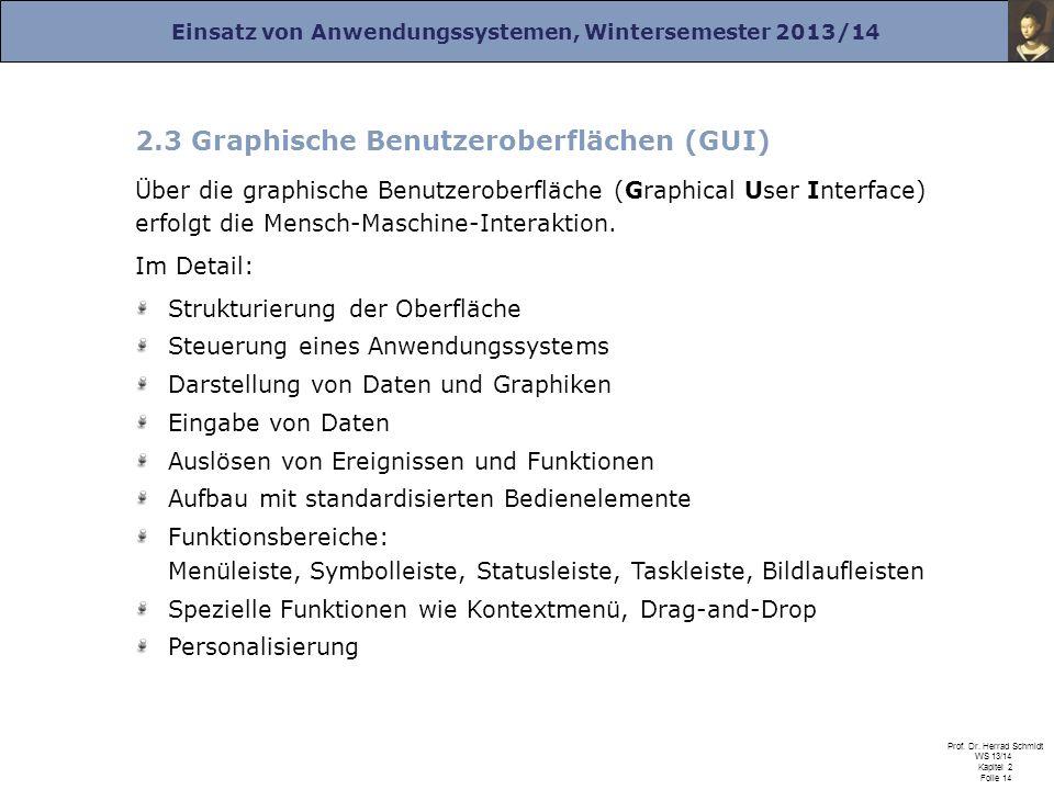 Einsatz von Anwendungssystemen, Wintersemester 2013/14 Prof. Dr. Herrad Schmidt WS 13/14 Kapitel 2 Folie 14 2.3 Graphische Benutzeroberflächen (GUI) Ü
