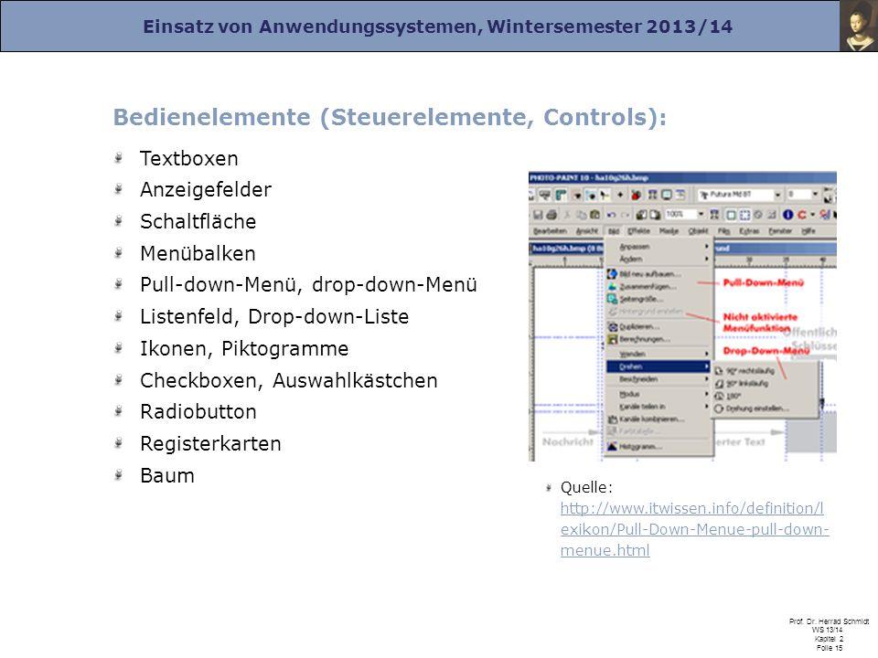 Einsatz von Anwendungssystemen, Wintersemester 2013/14 Prof. Dr. Herrad Schmidt WS 13/14 Kapitel 2 Folie 15 Bedienelemente (Steuerelemente, Controls):