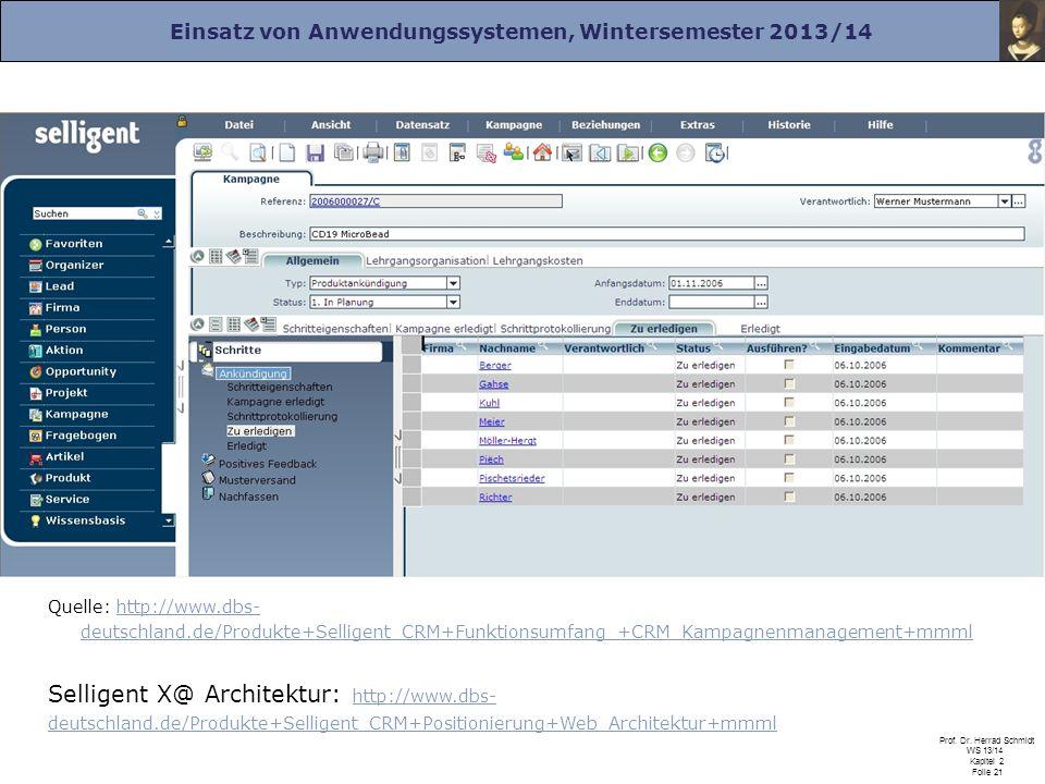 Einsatz von Anwendungssystemen, Wintersemester 2013/14 Prof. Dr. Herrad Schmidt WS 13/14 Kapitel 2 Folie 21 Selligent X@ Architektur: http://www.dbs-
