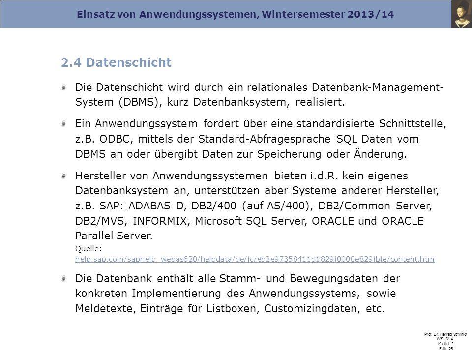 Einsatz von Anwendungssystemen, Wintersemester 2013/14 Prof. Dr. Herrad Schmidt WS 13/14 Kapitel 2 Folie 25 2.4 Datenschicht Die Datenschicht wird dur