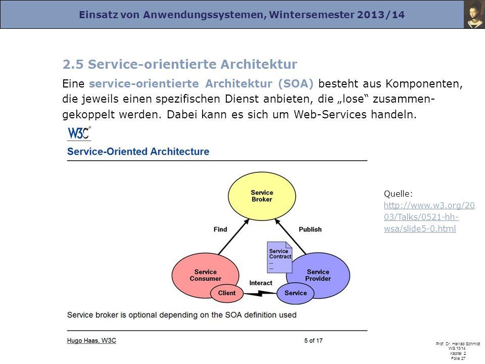 Einsatz von Anwendungssystemen, Wintersemester 2013/14 Prof. Dr. Herrad Schmidt WS 13/14 Kapitel 2 Folie 27 2.5 Service-orientierte Architektur Eine s